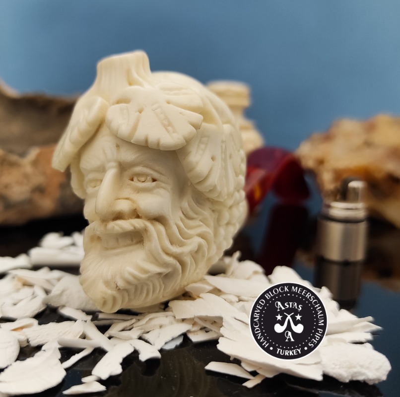 Bacchus Scolptured Head High Quality Meerschaum Pipe With Special Leather Case